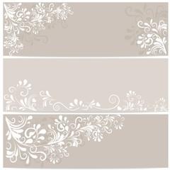3 Banner in beige mit Ornamenten