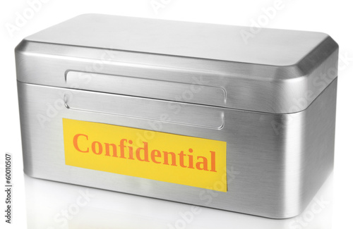Confidential information in silvery box isolated on white