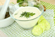 Cucumber yogurt in glass bowl,