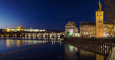 Cityscape of Prague with Castle and Charles Bridge at sunset