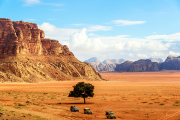 Scenic view of Wadi Rum in Jordan viewed from Lawrence's Spring