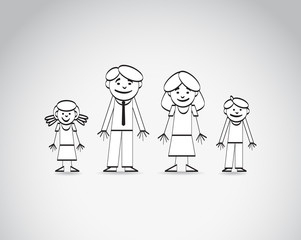 Outline sketch of the family. Vector image