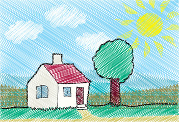 Child sketch of a house, tree and sun