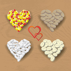 Hearts created from the pills. Vector