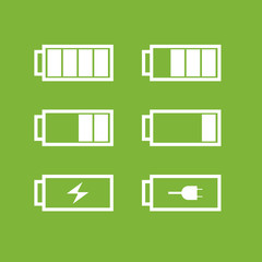 Set of battery icons. Vector
