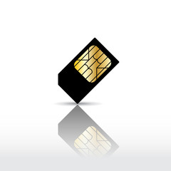 Black cell phone sim card with reflection. Vector