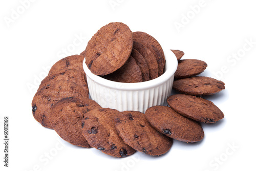 chocolate cookies in a small bowl  isolated