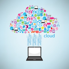 Computer clicking cloud icon. Concept vector illustration, EPS10