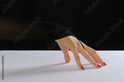 Beautiful woman hand with ruched glove