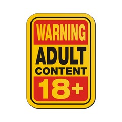 warning adult content 18+ sign
