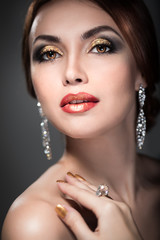 woman with bright makeup