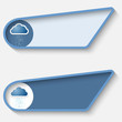 set of two blue box for text and cloud and rain