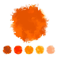 Set of orange water color design for brush, textbox, design