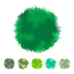 Set of green water color round design for brush, textbox, design