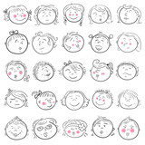 Cartoon face of girl set