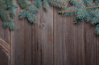 Christmas fir branch on wooden background