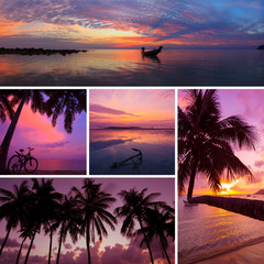 Beautiful collage of tropical sunset images