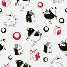 Ptaków i królików tle