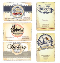Set of 5 bakery retro business card templates