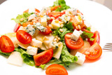 Salad with gorgonzola, pear and cherry tomatoes