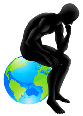 Globe thinker concept