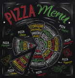 The names of dishes of Pizza drawing with color chalk
