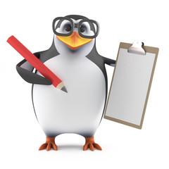 Academic penguin stays organised