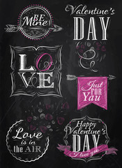 Set Valentine's Day and Love, pink, drawing on blackboard