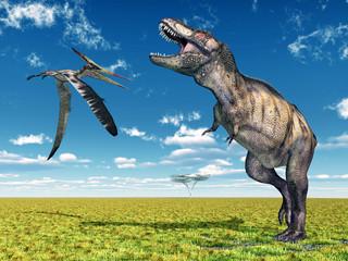 Tyrannosaurus Rex und der Flugsaurier Pteranodon