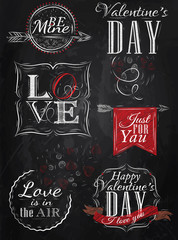 Set Valentine's Day and Love, red, drawing on blackboard