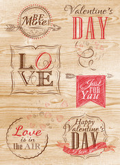 Set Valentine's Day and Lovein light wood color