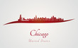 Chicago skyline in red
