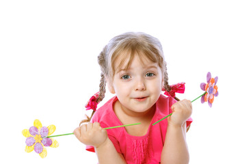 portrait of a little girl holding a flower, on a white backgroun