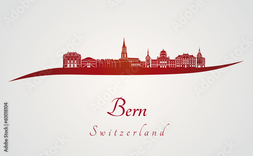 Bern skyline in red