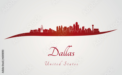 Dallas skyline in red