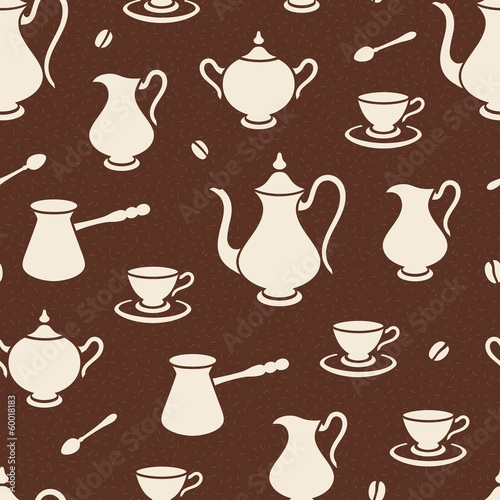 Vintage seamless coffee pattern or background.