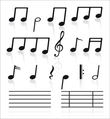 Music icons set of notes.