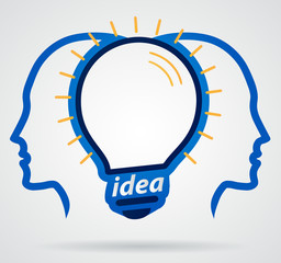 Thinking head lamp illuminating brain, unity of thought, new ide