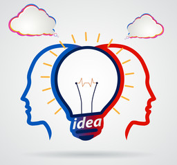 Thinking head with speech clouds, unity of thought, a new idea,p
