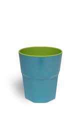 Blue bright plastic cup isolated on white background with clippi