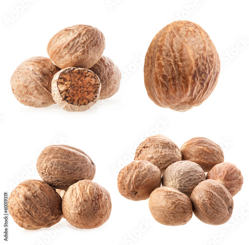 Collection of nutmegs Isolated on white background