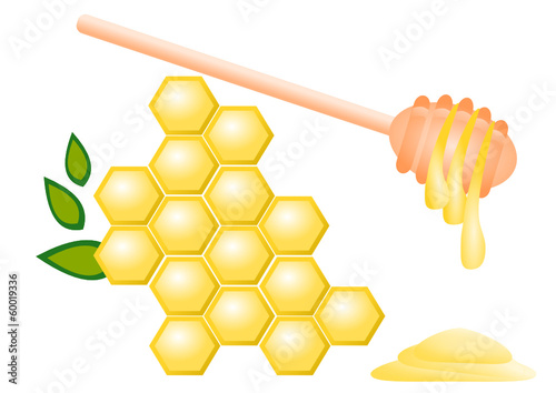 Honey comb and honey dipper