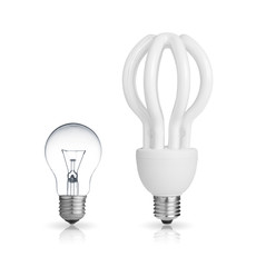 energy saving light bulb and tungsten bulb isolated on white
