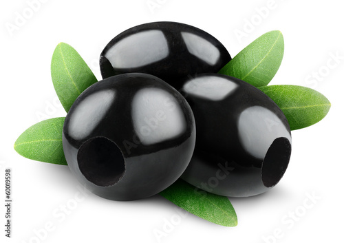 Pitted black olives isolated on white