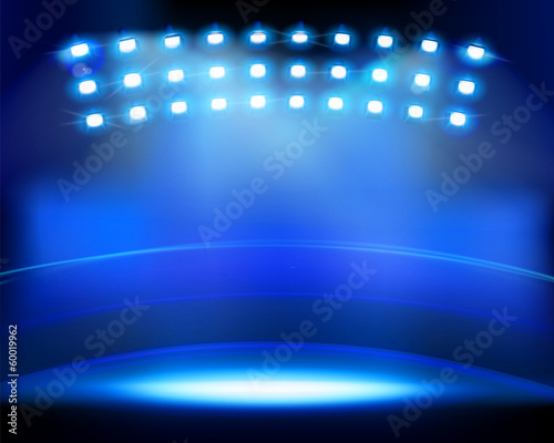 Stadium spotlights. Vector illustration.