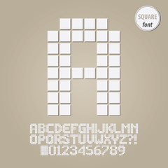 Square Geometric Alphabet and Digit Vector