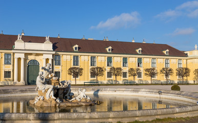 Fountain in Schonbrunn palace courtyard, Vienna, Austria