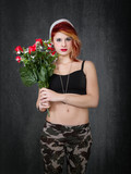 punk soldier with red peaceful roses