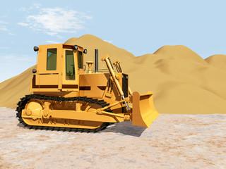 Bagger vor einem Sandhaufen