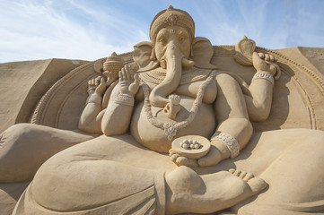 Sand sculpture of Hindu god Ganesh